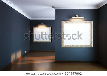 gallery interior with golden frames and lighters (black version) Stock photo © vizarch
