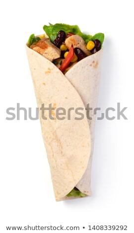 tortilla · csomagolás · finom · asztal · étel · keret - stock fotó © m-studio