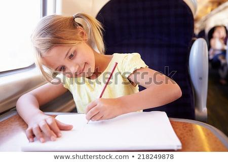 dez · ano · velho · menina · escrita · desenho - foto stock © monkey_business