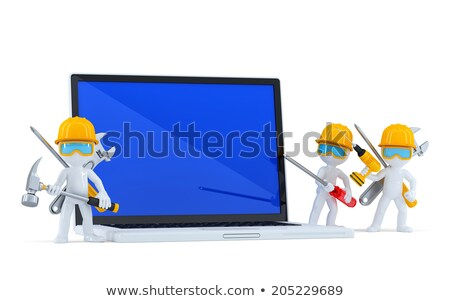 Team of construction workers with blank screnn laptop. Isolated. Contains clipping path Stock photo © Kirill_M