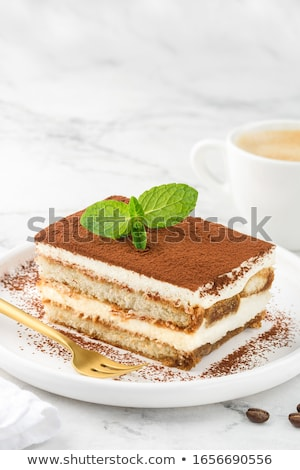 Tiramisu dessert room geïsoleerd Stockfoto © M-studio