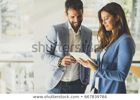business · paar · werken · tablet · kantoor · jonge - stockfoto © trendsetterimages