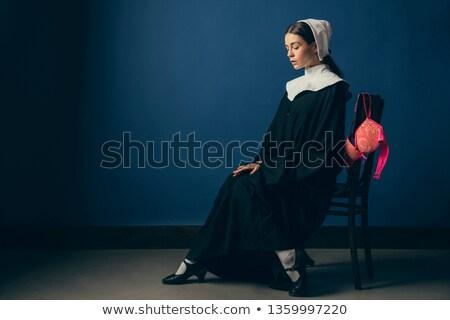 paars · korset · mooie · brunette · vrouw · sexy - stockfoto © elisanth