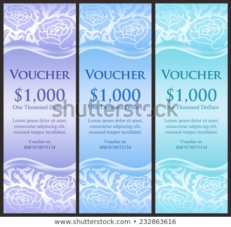 Vertical voucher with rose decoration in blue tones Stock photo © liliwhite