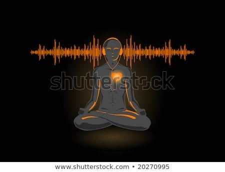 vector illustration of yoga listening his heart stock photo © elisanth