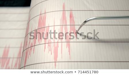 Aardbeving man lopen weg gebouwen stedelijke Stockfoto © lenm
