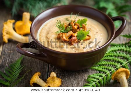 Stock fotó: Leves · gombák · finom · vegetáriánus · zöld · edény