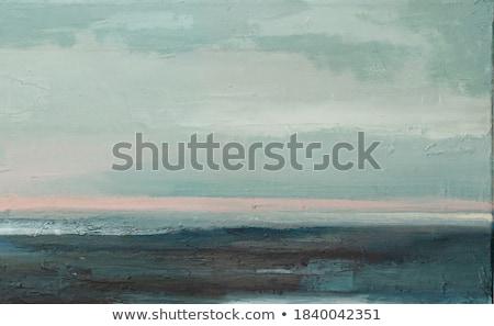 Tengeri kilátás naplemente magányos kék pad víz Stock fotó © limpido