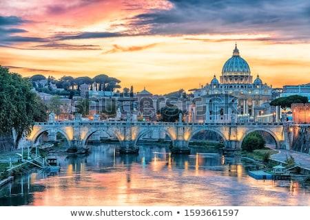 beautiful view of rome bridge italy stock photo © tannjuska