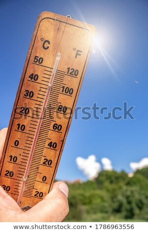 Wooden celsius fahrenheit thermometer over blue sky Stock photo © gavran333