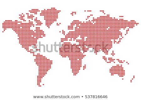 Love, world map with red hearts, vector Stock photo © beaubelle