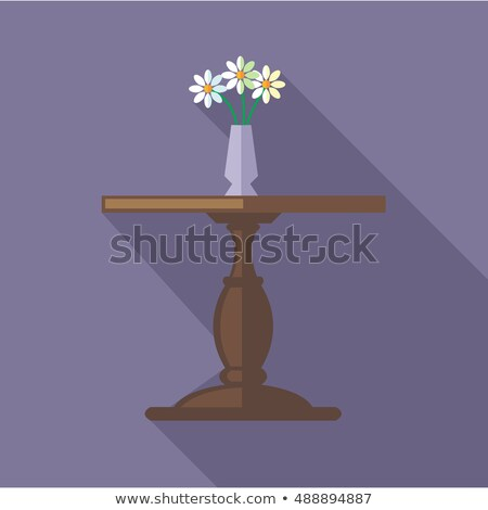 Flat Vase With Flowers Icon Over Green Foto stock © FrimuFilms
