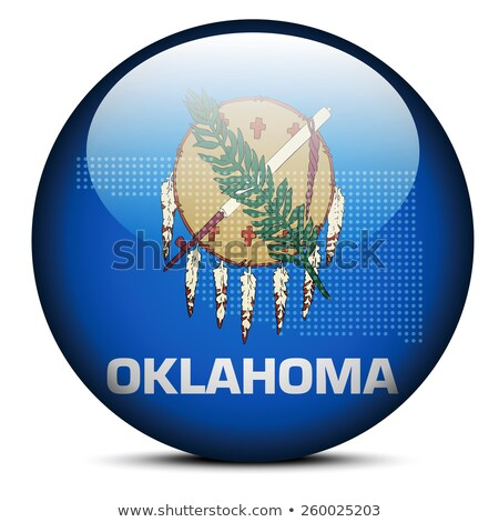 Map with Dot Pattern on flag button of USA Oklahoma State Stock photo © Istanbul2009