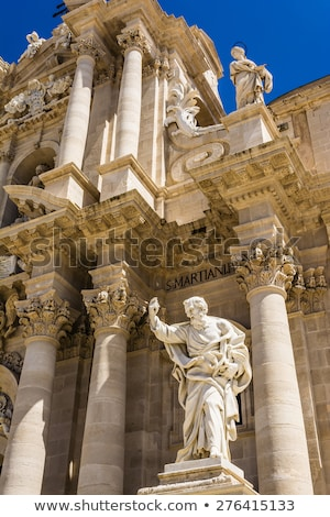 Statue of Saint Paul at the Siracusa Cathedral, Sicily, Italy Stock photo © ankarb