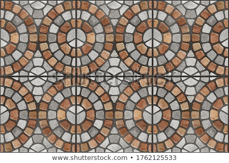 Gray and Brown Paving in Form of a Circle and Squares. Stock photo © tashatuvango