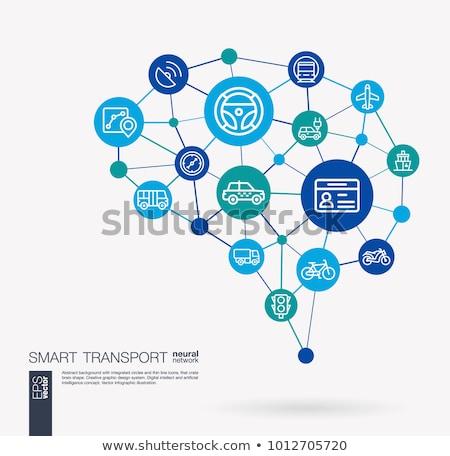 Busz szolgáltatás absztrakt digitális illusztráció digitális kollázs Stock fotó © kgtoh