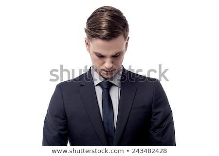 деловой · человек · печально · глядя · вниз · изолированный · человека · волос - Сток-фото © fuzzbones0