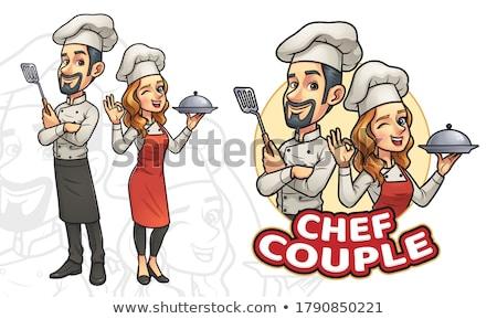 rajz · szakács · kalap · vektor · mosoly · terv - stock fotó © tujuh17belas