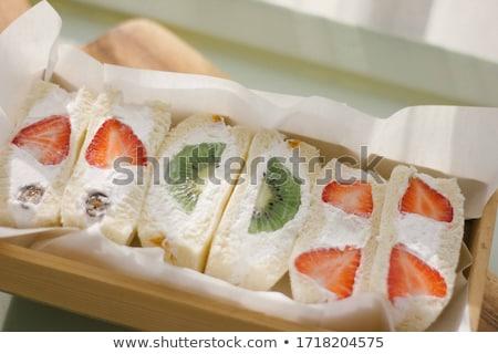 Vruchten sandwiches cottage cheese selectief brood diner Stockfoto © saharosa