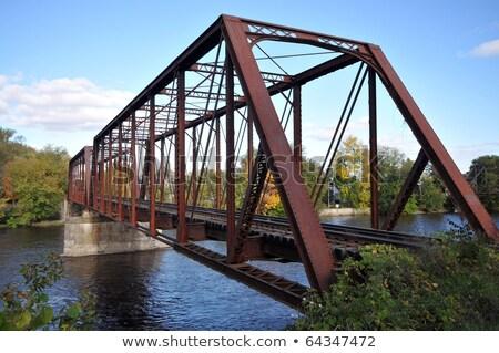 Сток-фото: рельс · длина · реке · стали · моста · небе