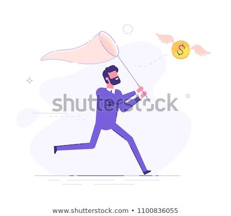 hombre · dólar · monedas · caucásico · pie · moneda - foto stock © RAStudio