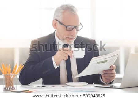 vrolijk · zakenman · uit · hand · witte - stockfoto © ozgur