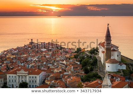 Naplemente tenger óváros Szlovénia festői légifelvétel Stock fotó © Kayco