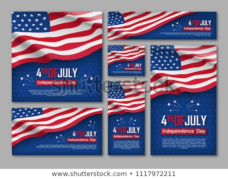 american flag set stock photo © x7vector