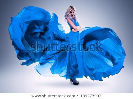 bella · ragazza · blu · abito · isolato - foto d'archivio © elnur