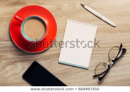 карандашей очки открытых белый ноутбук кофе Сток-фото © punsayaporn