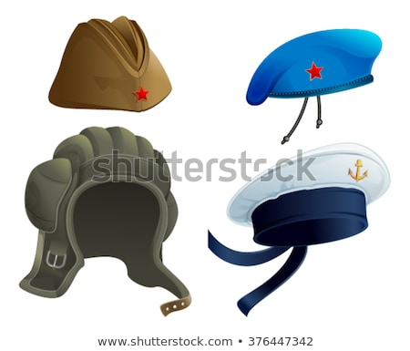 Set Military Army headdress. Russian military garrison cap. Modern Military hat Stock photo © orensila