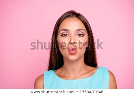 Stok fotoğraf: Genç · kadın · öpücük · yalıtılmış · beyaz · kız