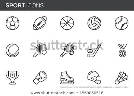 Foto stock: Hóquei · capacete · linha · ícone · teia