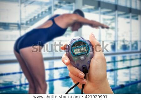Közelkép sportoló tart időzítő nő sport Stock fotó © wavebreak_media