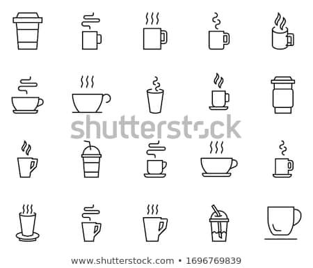 Stock fotó: Fehér · papír · kávéscsésze · ikon · gyűjtemény · kávé · teáscsésze