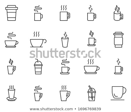 white paper coffee cup icon set stock photo © marysan