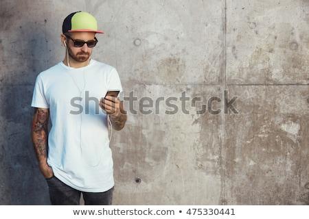Homme blanche tshirt téléphone portable Photo stock © stevanovicigor