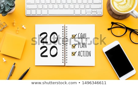Stratégia szöveg jegyzettömb villanykörte háttér notebook Stock fotó © fuzzbones0