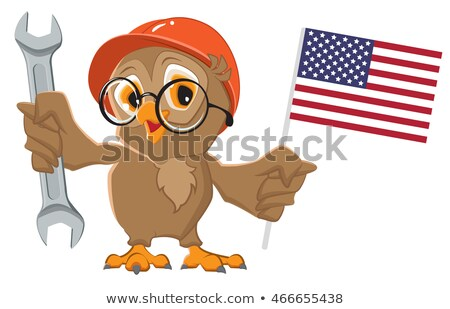 Labor Day USA. Owl holding wrench and American flag Stock photo © orensila