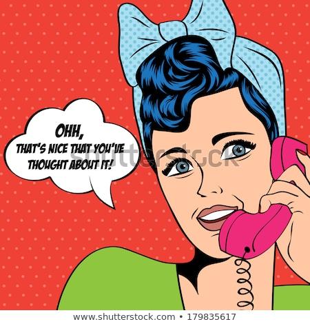 Pop art  woman chatting on retro phone . Comic woman with speech Stock photo © balasoiu