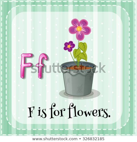Stock photo: Flashcard letter F is for flower