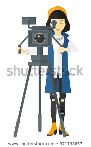 Camerawoman with video camera vector illustration. Stock photo © RAStudio