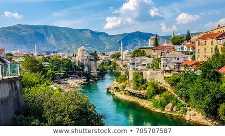 старые · моста · Босния · и · Герцеговина · облака · строительство · фон - Сток-фото © zurijeta