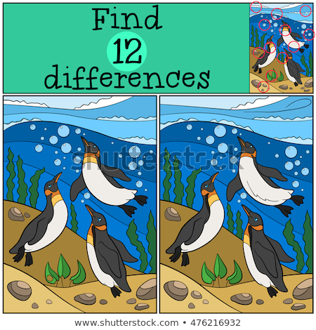 Stock photo: Game template of spot the difference underwater
