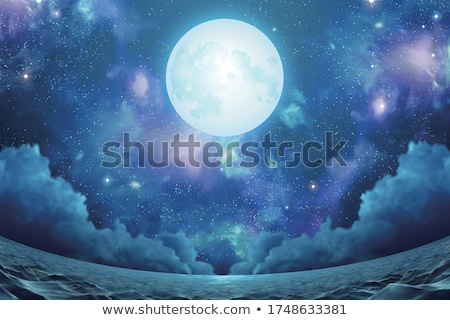 Silver moon and night starry sky, vector illustration Stock photo © carodi