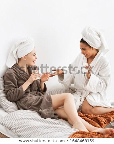 twee · sensueel · dame · kussengevecht · vrouwen · partij - stockfoto © deandrobot