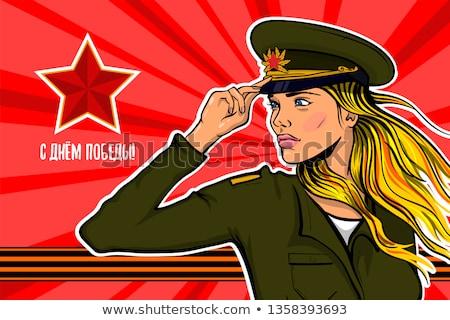 Gyönyörű lány katonák egyenruha katonaság ünnep Oroszország Stock fotó © popaukropa