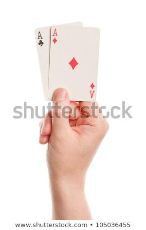 Emberi kéz tart ász pikk fedélzet kártyák Stock fotó © mizar_21984