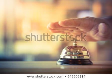 Vintage hotel recepcji dzwon rustykalny dąb Zdjęcia stock © stevanovicigor