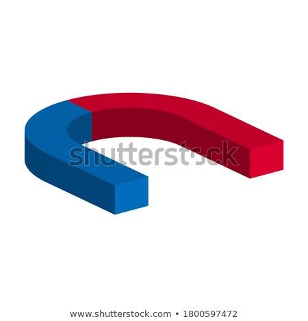 赤 青 馬蹄 磁石 側面図 3D ストックフォト © djmilic